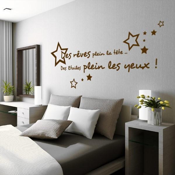 sticker citation des r ves plein la t te stickers center. Black Bedroom Furniture Sets. Home Design Ideas