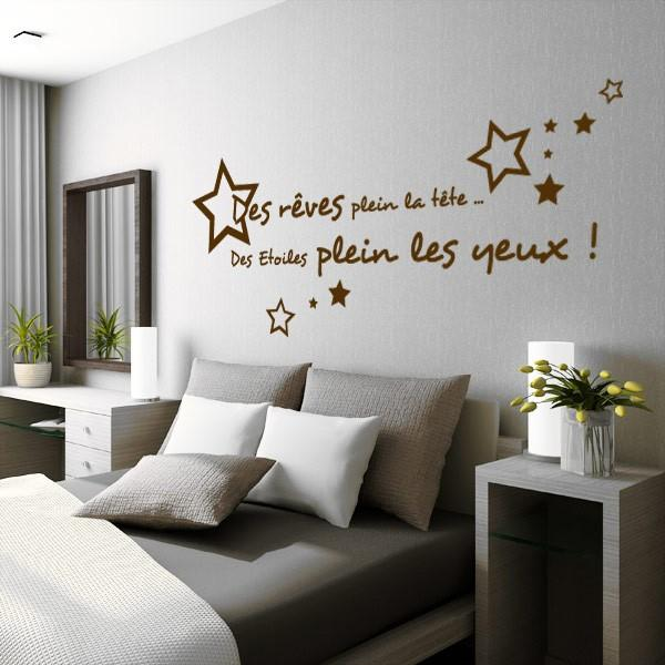 Sticker citation des r ves plein la t te stickers center for Stickers muraux citations chambre