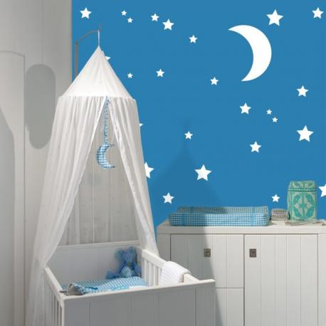 Sticker etoiles et lune stickers center - Stickers etoiles chambre bebe ...