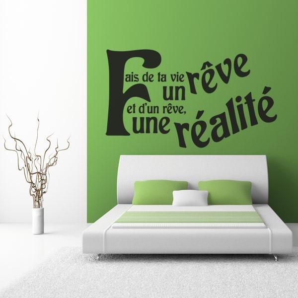 sticker citation fais de ta vie un r ve stickers center. Black Bedroom Furniture Sets. Home Design Ideas