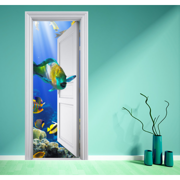 Poster aquarium magique 2 stickers center for Poster porte wc