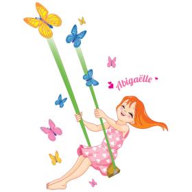 Sticker Personnalisable papillons et balançoire