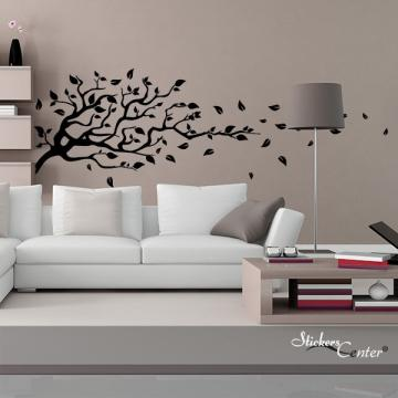 sticker arbre et feuilles volantes stickers center. Black Bedroom Furniture Sets. Home Design Ideas