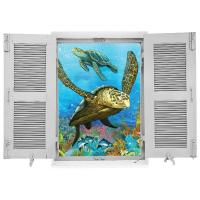 sticker Trompe l'oeil Faune et Tortues