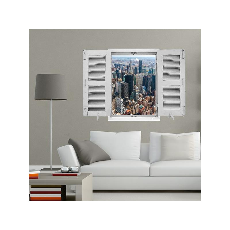 Sticker trompe l 39 oeil new york stickers center for Stickers fenetre new york
