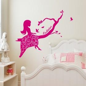 Sticker princesse et oiseaux du bonheur personnalisable