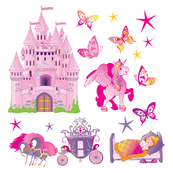 Sticker princesse et ch teau stickers center - Tickers chambre fille princesse ...