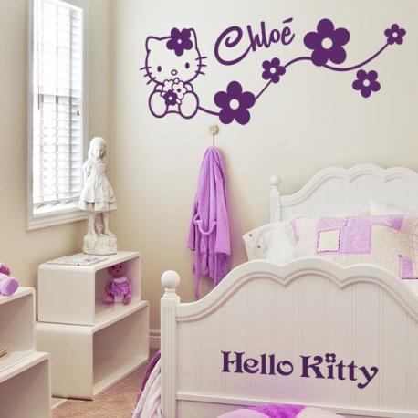 Sticker personnalisable hello kitty stickers center for Sticker chambre bebe fille