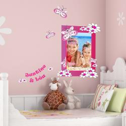 Sticker cadre papillons personnalisable - Vertical