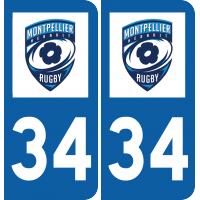 Plaque avec logo club foot rugby stickers center - Logo montpellier foot ...