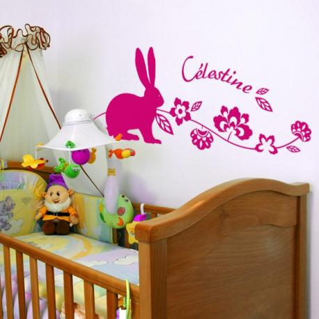 sticker personnalis lapin et branche fleurie stickers center. Black Bedroom Furniture Sets. Home Design Ideas