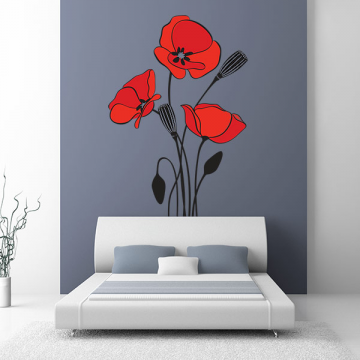 sticker Coquelicots Deco