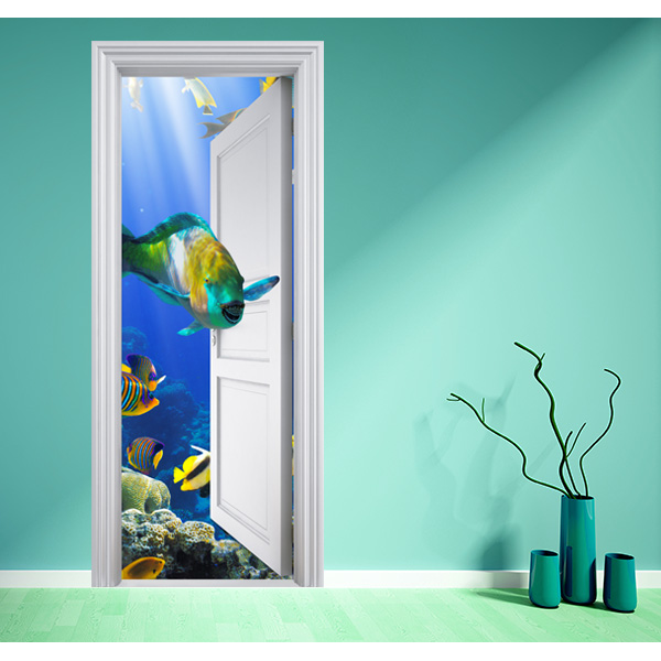Poster aquarium magique 2 stickers center for Poster de porte zen
