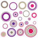 Sticker cercles Fuschia Violet Taupe