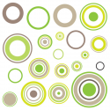 Sticker cercles Taupe panach vert