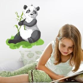 Sticker Panda et tiges de Bambou