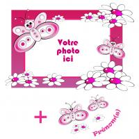 Sticker cadre papillons personnalisable Horizontal
