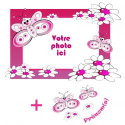 Sticker cadre papillons personnalisable - Horizontal