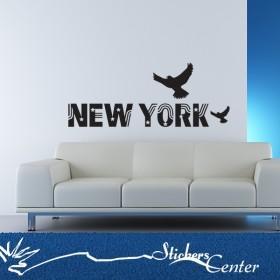 Sticker New York et oiseaux
