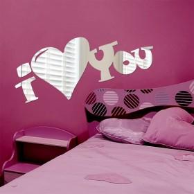 Sticker effet miroir I Love You