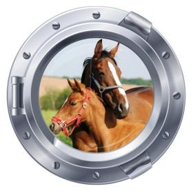 Sticker hublot cheval et poulain