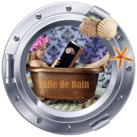 Sticker hublot Salle de Bain et coquillage