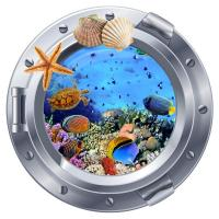 Sticker hublot Aquarium tortue et poissons