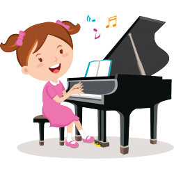 Sticker Petite pianiste fille