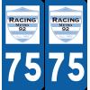 Plaque voiture Racing 92