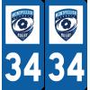 Plaque voiture Montpellier Hérault Rugby