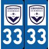 Plaque voiture Girondins de Bordeaux
