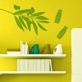 Sticker branche d'olivier et cigales