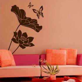 Sticker Fleurs de Lotus et Papillons