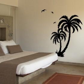 sticker Palmiers et oiseaux
