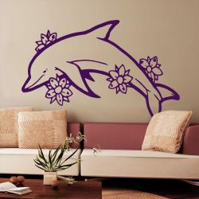 Sticker Dauphin et fleurs d'Hawaï