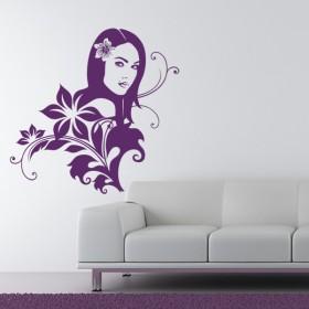 Sticker Tahitienne et Fleurs du Soleil